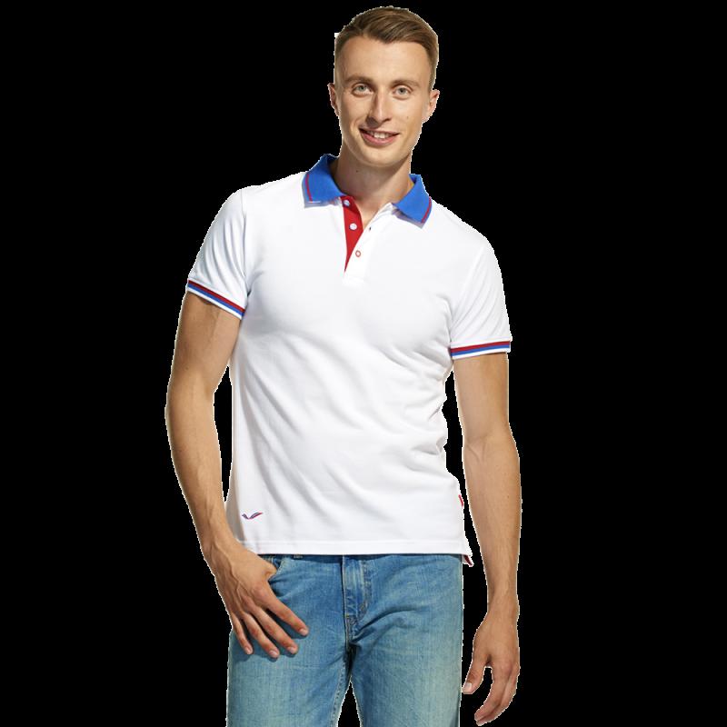 Мужская  рубашка поло «триколор», PiterBest, 1504, Белый (10), XS/44