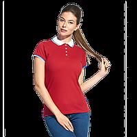 Женская  рубашка поло «триколор», PiterBestWomen, 1504W, Красный (14), M/46, фото 1