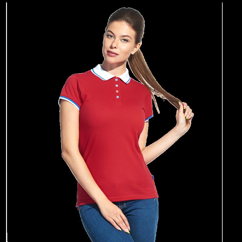 Женская  рубашка поло «триколор», PiterBestWomen, 1504W, Красный (14), M/46