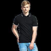Мужская рубашка поло с отделкой, StanTrophy, 04T, Чёрный (20), 4XL/58