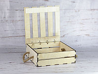 Деревянный ящик с откидной крышкой без покраски 25*25*8 см.
