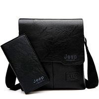 Набор мужской сумка + портмоне Jeep Buluo (Черный)