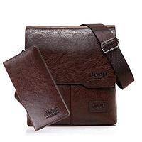 Набор мужской сумка + портмоне Jeep Buluo (Коричневый)