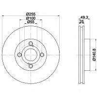 Тормозные диски Toyota  Hiace (95-06, Optimal,передние)