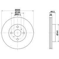 Тормозные диски Toyota  Corolla (92-02,Optimal,передние,D 255mm-22, )