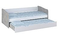 Кровать детская выдвижная Polini kids Simple 4210 белый-бетон, фото 1