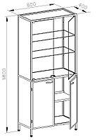 Шкаф для посуды, дверцы двустворчатые стеклянные, полки стеклянные, ц/м, 600х400х1800 мм