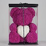 Мишка из роз 40см в подарочной упаковке, фото 4