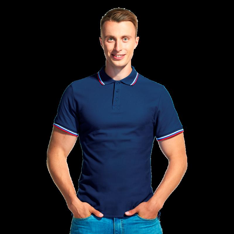 Мужская рубашка поло «триколор», StanRussian, 04RUS, Тёмно-синий (46), XS/44