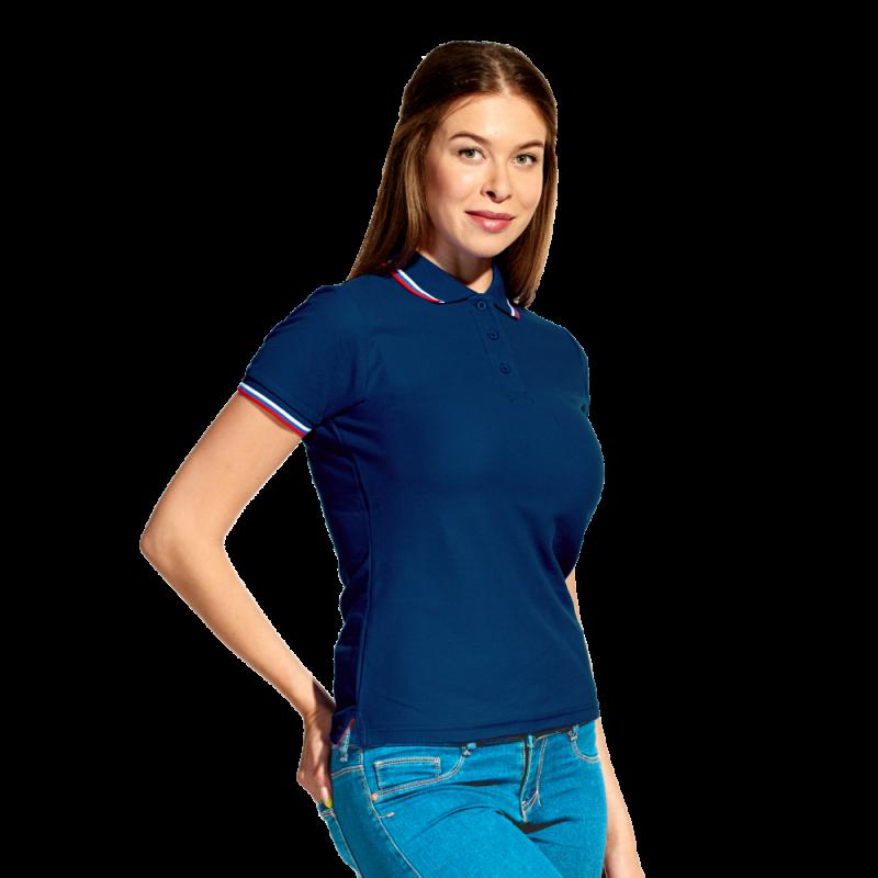 Женская рубашка поло  «триколор», StanRussianWomen, 04WRUS, Тёмно-синий (46), XXL/52