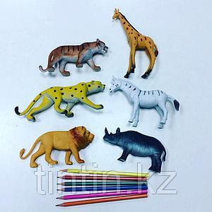 Набор из 6 резиновых диких животных