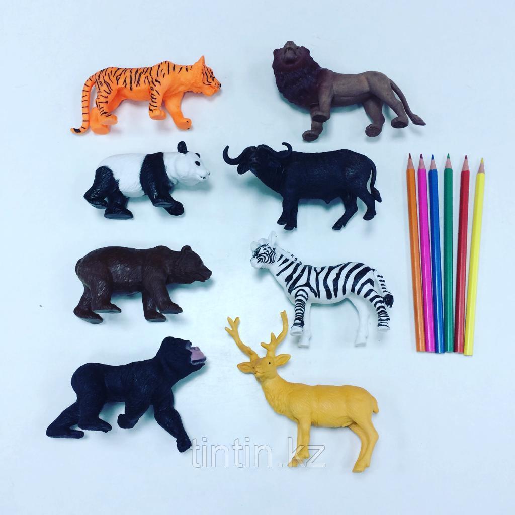 Набор из 8 резиновых диких животных