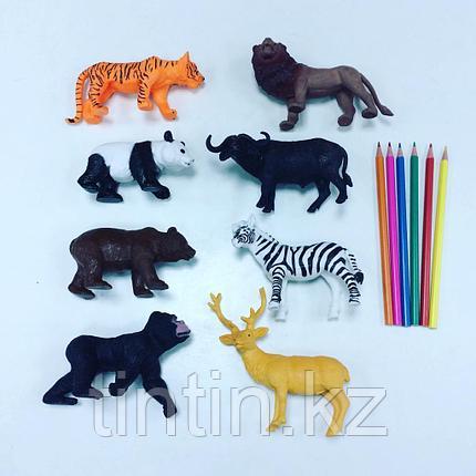 Набор из 8 резиновых диких животных, фото 2
