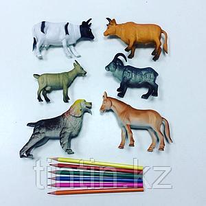Набор из 6 резиновых домашних животных