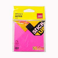 Бумага для заметок с клейким краем 76х76 100л. Neon розовый Deli # 02302PN