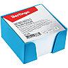 Блок для записи Berlingo, 9*9*5см, голубой пластиковый бокс, белый