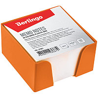 Блок для записи Berlingo, 9*9*5см, оранжевый пластиковый бокс, белый