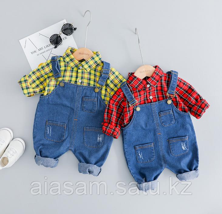 Двойка комбинезон джинсовый с рубашкой
