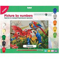 """Картина по номерам Greenwich Line """"Попугаи"""" A3, с акриловыми красками, картон, европодвес"""