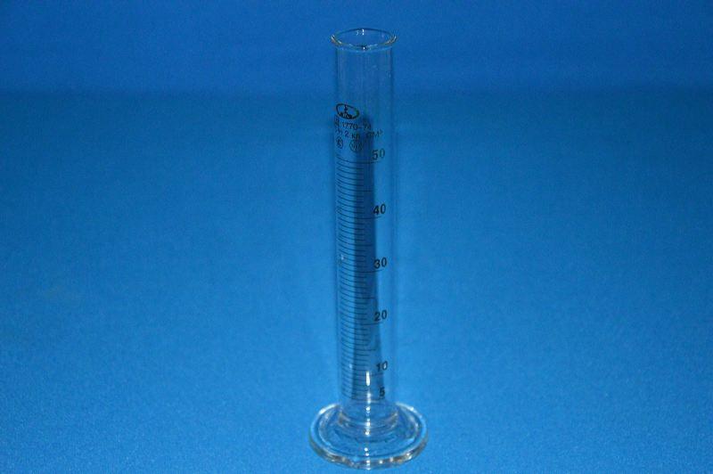 Цилиндр 1 мерный с носиком и стекл. осн.1-50-2