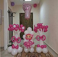 Оформление шариками на рождение девочки