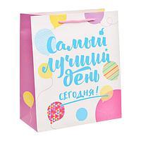 Пакет ламинированный вертикальный «Самый лучший день сегодня!», ML 23 × 27 × 11,5 см