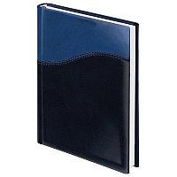 """Ежедневник BRAUBERG недатир., А5, 138х213 мм, """"Bond"""", под комб. кожу с волной, 160 л., темно-синий/син.126220, фото 1"""