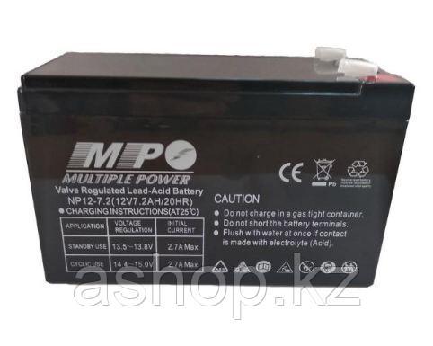 Батарея необслуживаемая (аккумулятор) Multiple Power NP1272 (12V 7,2 Ah), Емкость аккумулятора: 7,2 Ah, Разъем