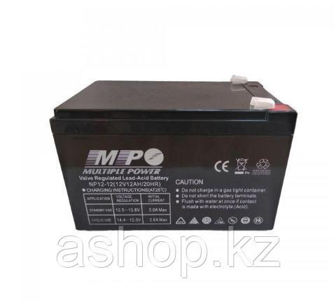 Батарея необслуживаемая (аккумулятор) Multiple Power NP12-12 (12V 12 Ah), Емкость аккумулятора: 12 Ah, Разъемы
