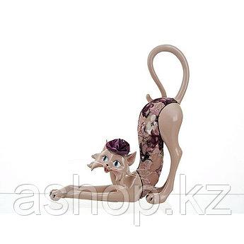 Статуэтка декоративная ENS Кошка-модница, Высота: 330 мм, Материал: Полистоун, текстиль, Цвет: Кремовый, (2620