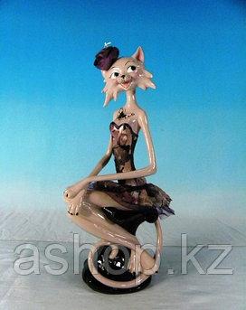 Статуэтка декоративная ENS Кошка-модница, Высота: 350 мм, Материал: Полистоун, текстиль, Цвет: Кремовый, (AG02