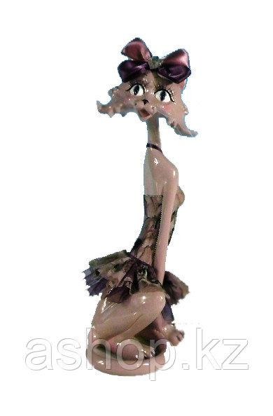 Статуэтка декоративная ENS Кошка-модница, Высота: 340 мм, Материал: Полистоун, текстиль, Цвет: Кремовый, (AG01