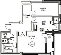 2 комнатная квартира в ЖК Табысты 74.74 м², фото 1