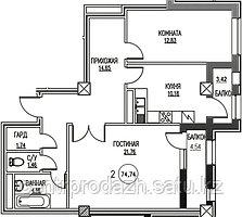 2 комнатная квартира в ЖК Табысты 74.74 м²