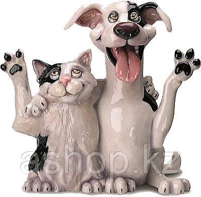 Статуэтка декоративная Arora Собака и кошка Джек и Джилл , Высота: 220 мм, Материал: Керамистоун, Цвет: Чёрно-