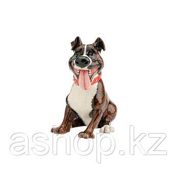Статуэтка декоративная Arora Собака Стафорд Тайсон, Высота: 200 мм, Материал: Керамистоун, Цвет: Коричнево-бел