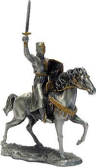 Статуэтка оловянный солдатик Wise Unicorn Конный рыцарь-крестоносец, Высота: 105 мм, Материал: Оловянный сплав