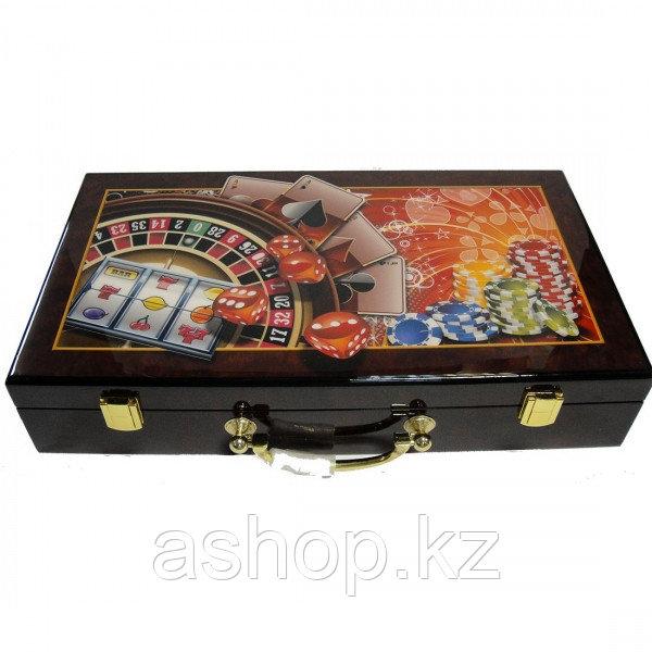 Набор для покера 300 фишек ARMS 2011228, Корпус: Дерево, Покрытие: Глянцевый лак, Кубиков: 5 шт., Фишек: Белых