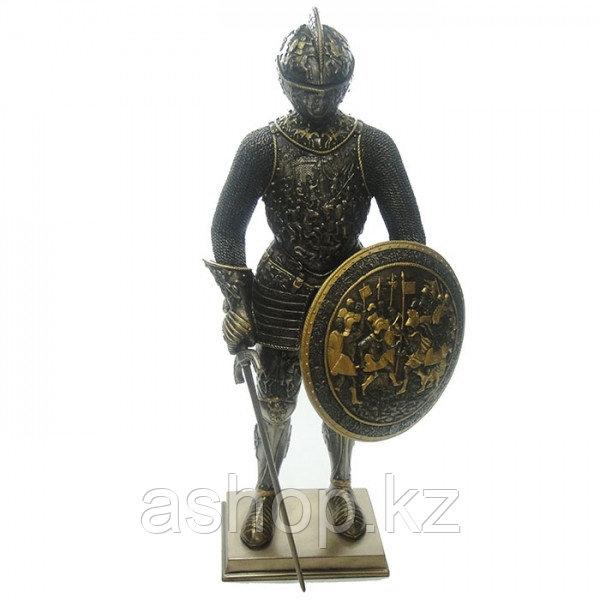 Статуэтка Wise Unicorn Средневековый рыцарь с мечом, Высота: 330 мм, Материал: Полистоун, Цвет: Бронзовый, (WU
