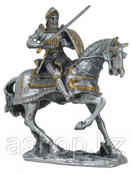 Статуэтка оловянный солдатик Wise Unicorn Рыцарь Конный с мечом, Высота: 100 мм, Материал: Оловянный сплав, (A