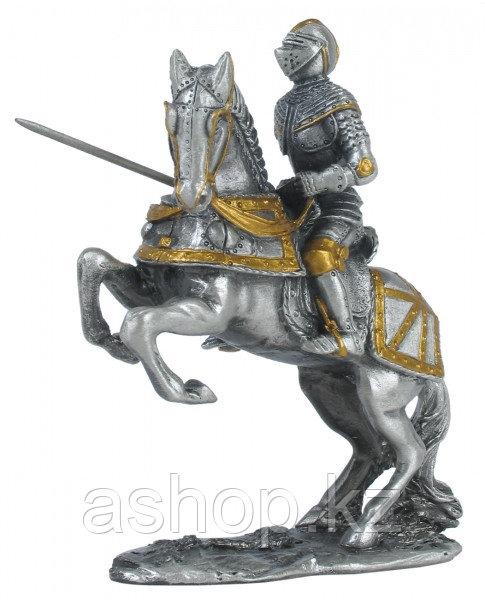 Статуэтка оловянный солдатик Wise Unicorn Рыцарь Крестоносец на боевом коне, Высота: 95 мм, Материал: Оловянны