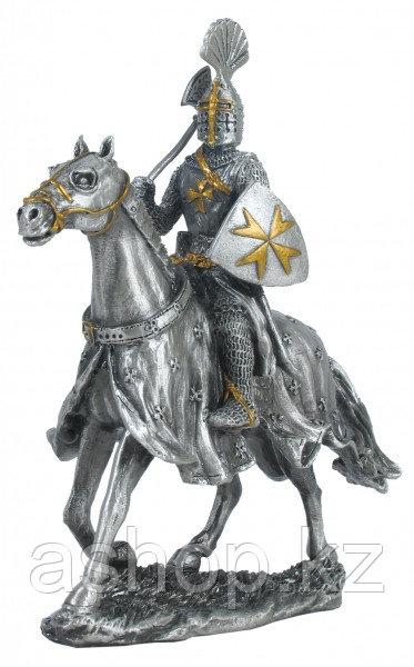Статуэтка оловянный солдатик Wise Unicorn Рыцарь Конный крестоносец с топором, Высота: 110 мм, Материал: Оловя
