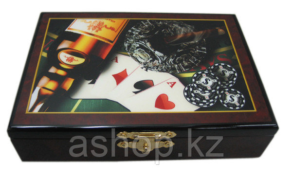 Набор игральных карт ARMS D-9391, Корпус: Дерево, Покрытие: Глянцевый лак, Колод: 2 пластиковых, Цвет: Чёрно-к