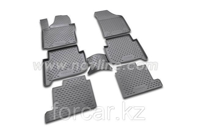 Коврики в салон NISSAN Pathfinder, 2014-> 5 шт., для 3х рядов сидений (полиуретан), фото 2