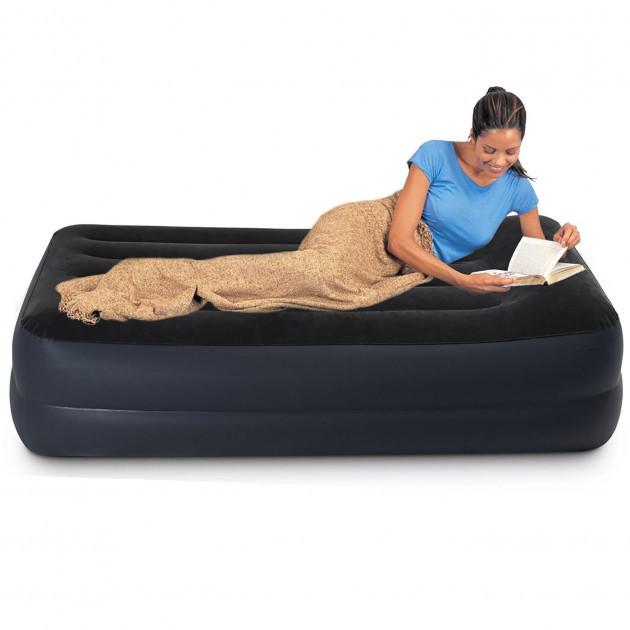 Кровать надувная односпальная со встроенным насосом 220В 99х191х42 см, INTEX 64122