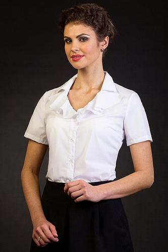 "Белая блузка для офиса ""Эмилия"" 44 размер"