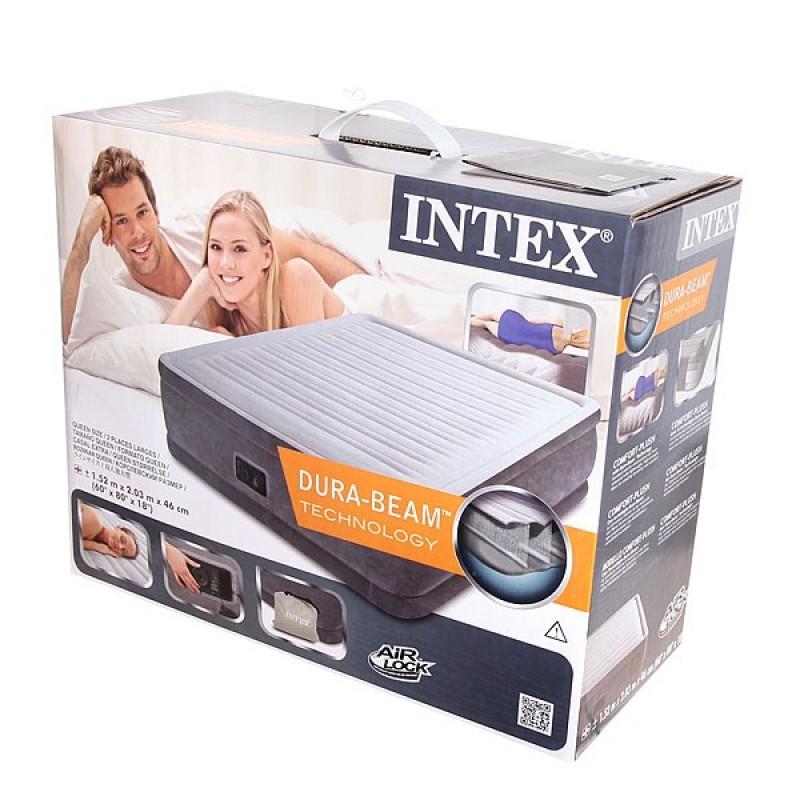 Надувная кровать Intex 67770 (203 x 152 x 33 см. ) + встроенный электронасос