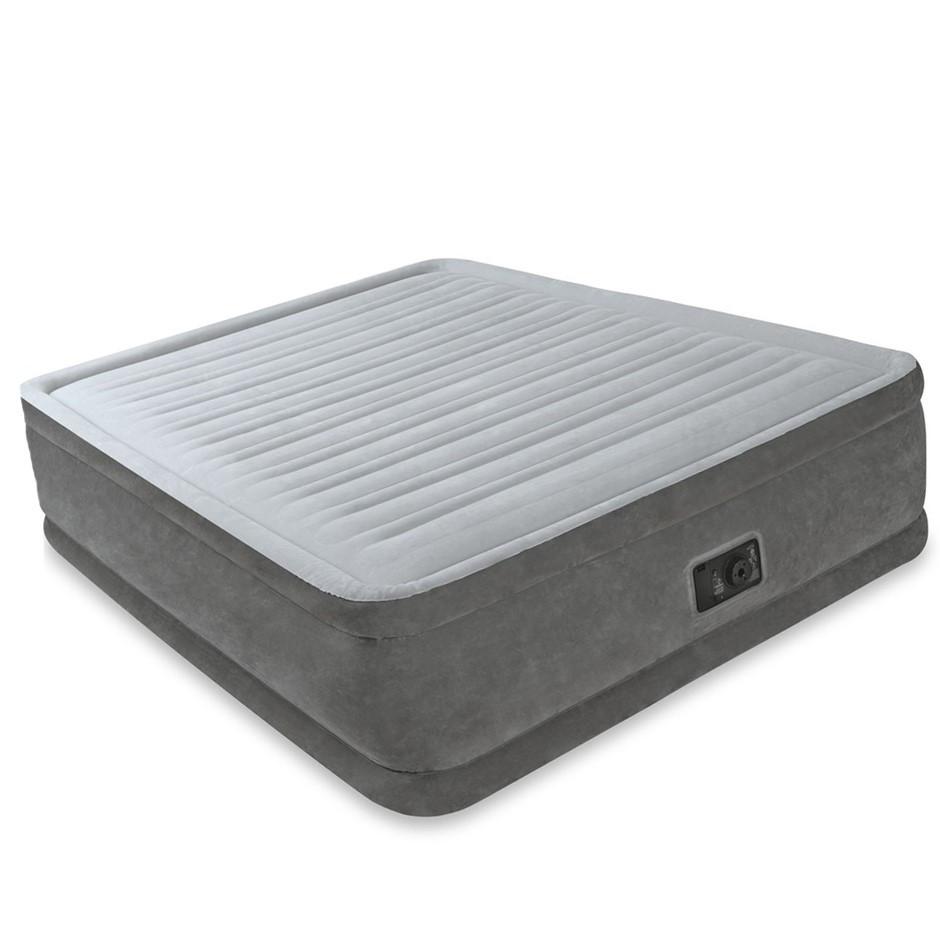 Двуспальная надувная кровать Intex 64414 203х152х46 см велюровая со встроенным насосом 220V/В