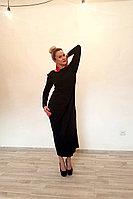 Платье трикотажное с длинными рукавами ассиметричное