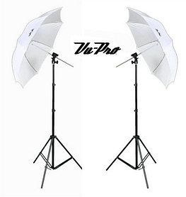 2 студийных зонта 82 см на просвет на стойках с головками для вспышек